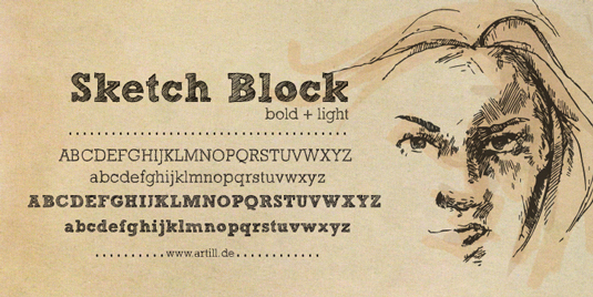 sketch block handwriting font