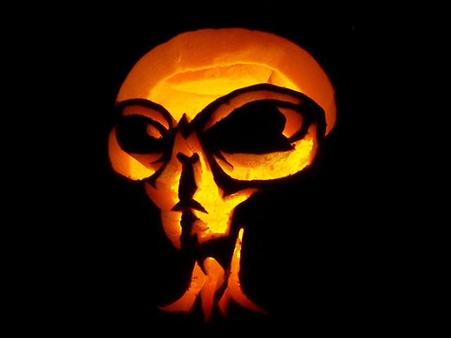 Alien halloween pumpkin carving creative ads …