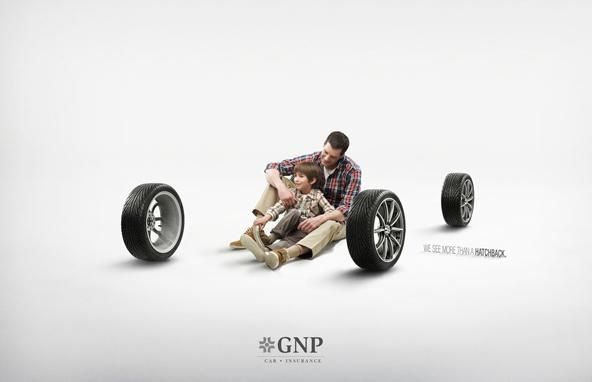Kid and his dad in this auto insurance creative ad