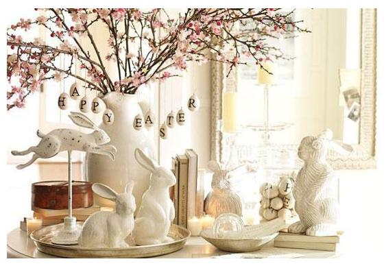 White Easter Centerpiece With Rabbits Creative Ads And More