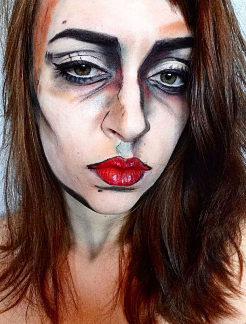 Sketched girl face halloween makeup idea | Creative Ads and more…