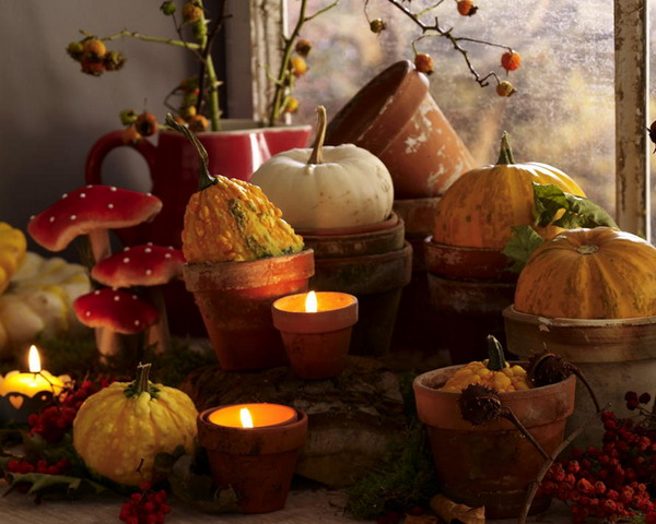 Pumpkins and candles thanksgiving day decoration creative ads and more for Harvest decorations for the home