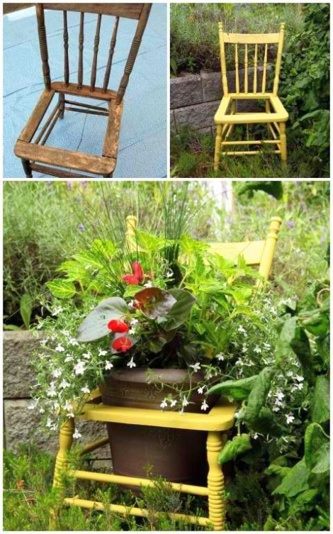 Old wooden chair garden decorating idea creative ads for Garden design decoration