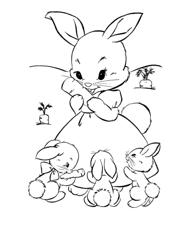 Easter Bunnies Coloring Pages