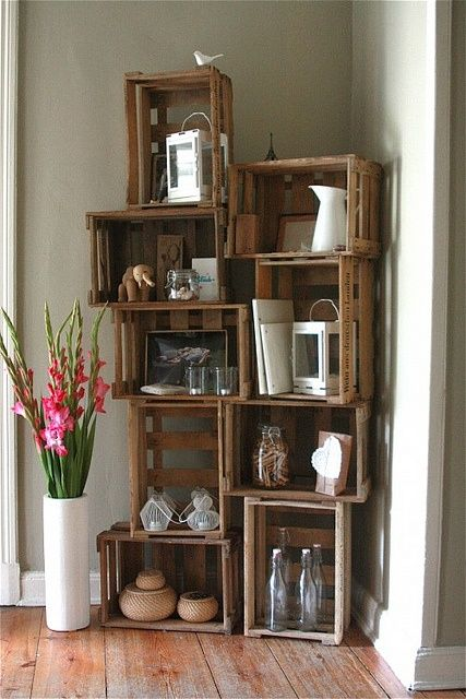 diy bookshelf made from upcycled crates - Bookshelves Made From Crates