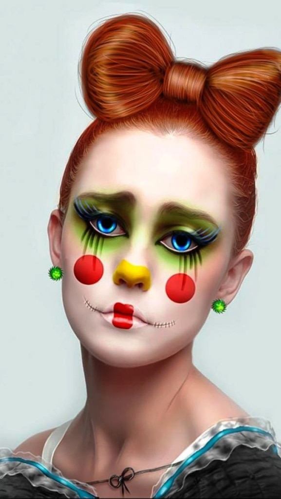 Cute Clown Makeup Idea For Halloween