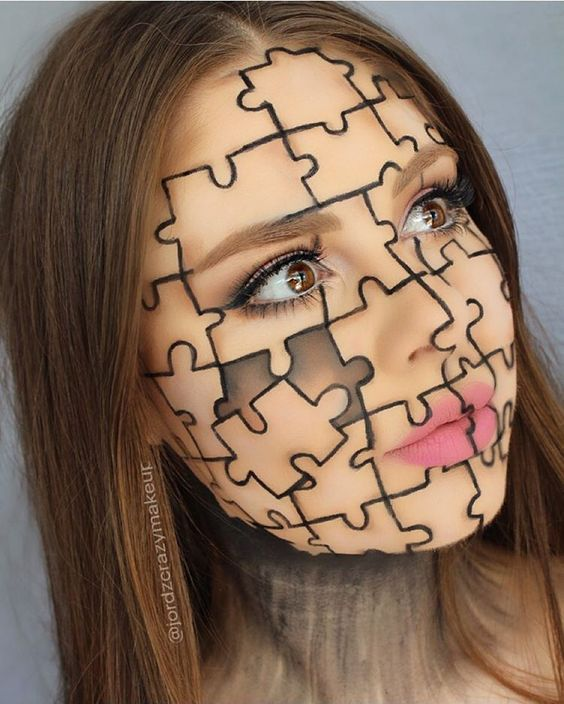 Puzzle Makeup For Halloween
