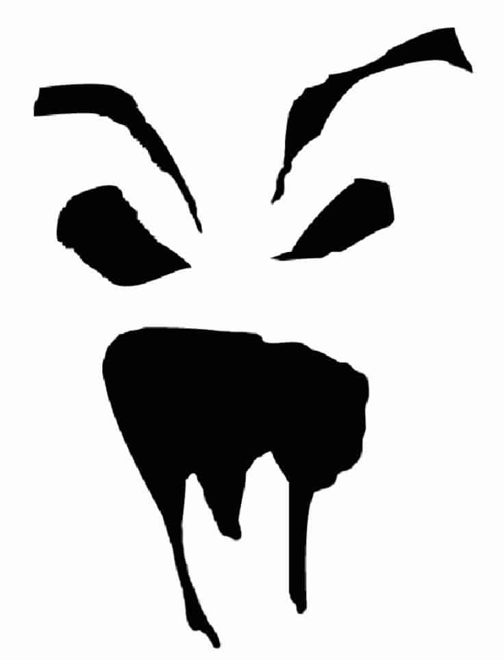 Scary face pumpkin stencil creative ads and more for Scary jack o lantern face template