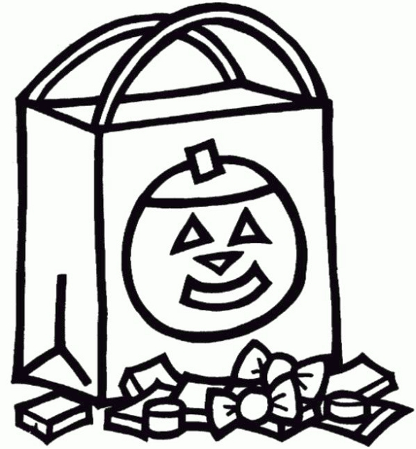 Trick Or Treat Bag Halloween Coloring Page