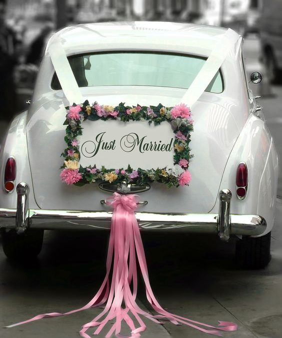 Wedding Car Decoration Ideas Funny : Pics photos just married wedding car decorations by