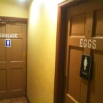 eggs and sausage funny bathroom sign