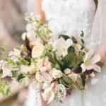 Garden roses, astrantia, and local greenery wedding bouquet
