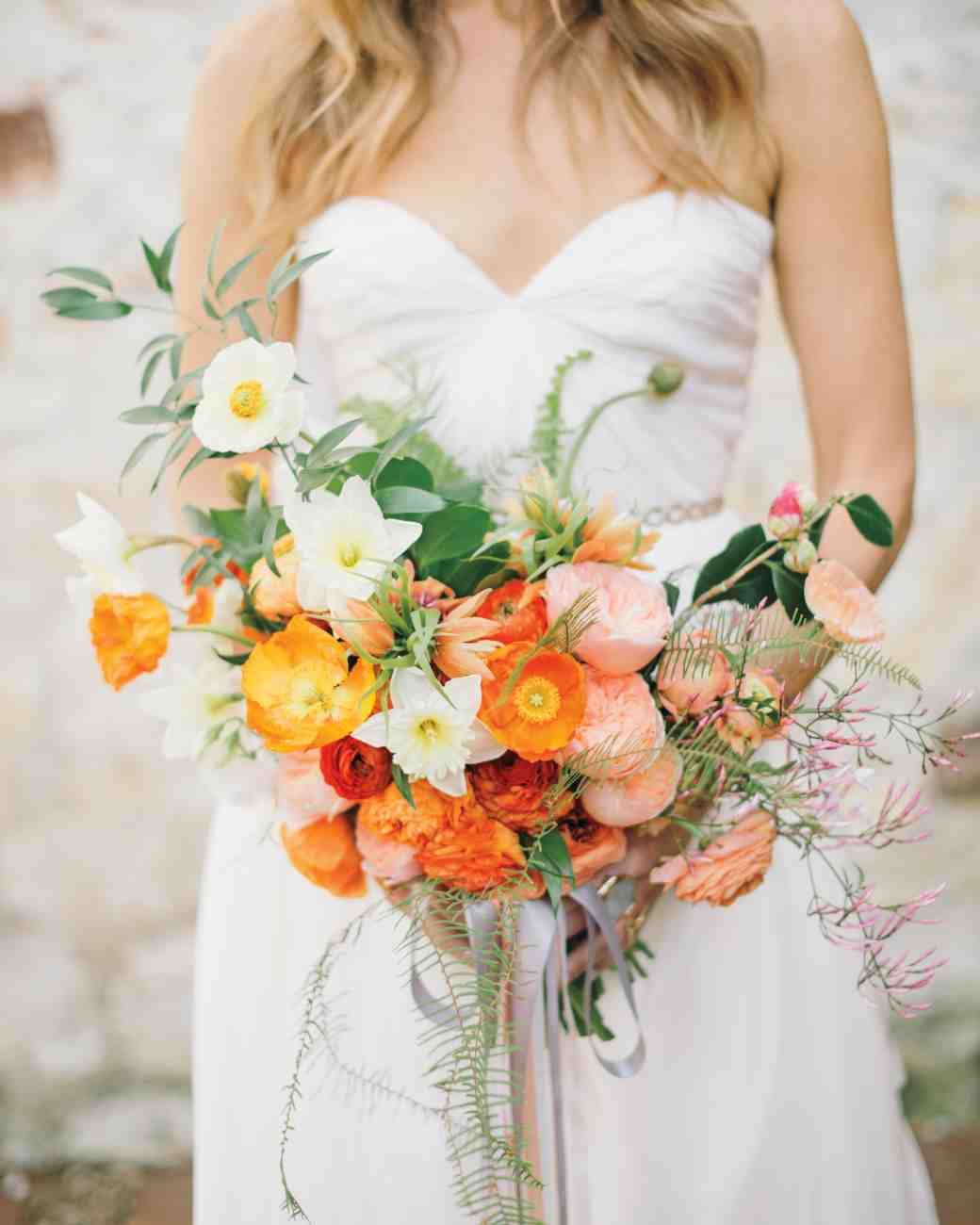 Icelandic Poppies Daffodils Ranunculus Camellias Jasmine Ferns And Ruscus Wedding Bouquet