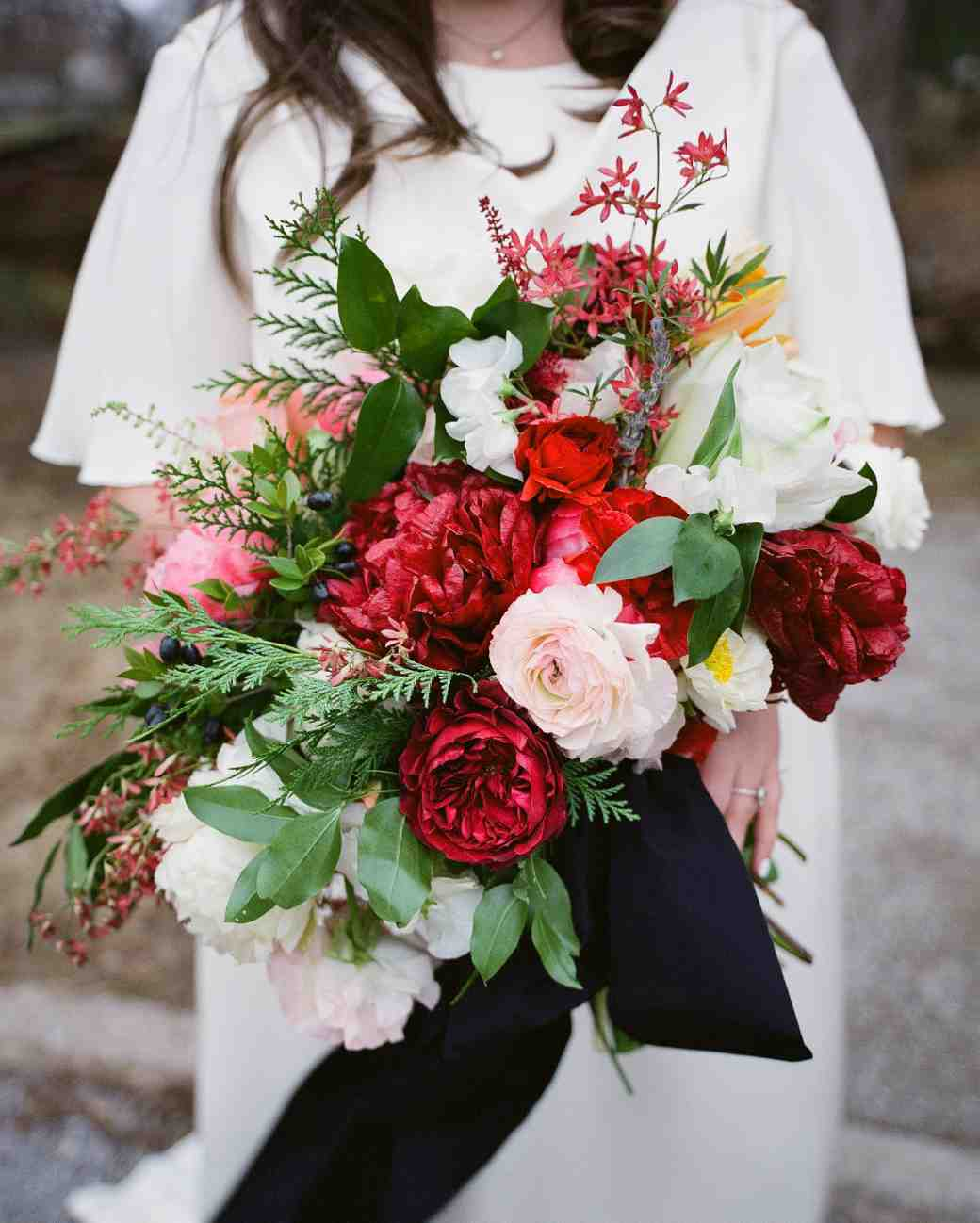 Garden roses smilax ranunculus festival bush tulips poppies astilbe peonies and - Red garden rose bouquet ...