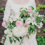 peonies and garden roses wedding bouquet