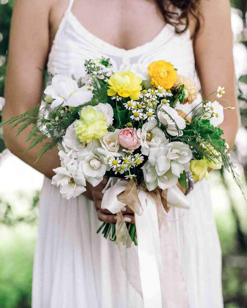 Ranunculus Chamomile And Roses Wedding Bouquet