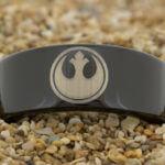 star wars inspired wedding rings - Rebel Alliance lasered design