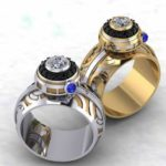 star wars inspired wedding rings - droids