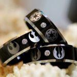 star wars inspired wedding rings - empire vs rebels