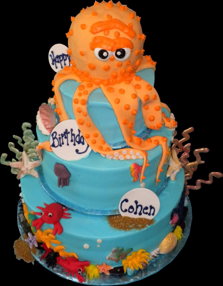 Superb Orange Octopus Birthday Cake Idea Creative Ads And More Funny Birthday Cards Online Inifodamsfinfo