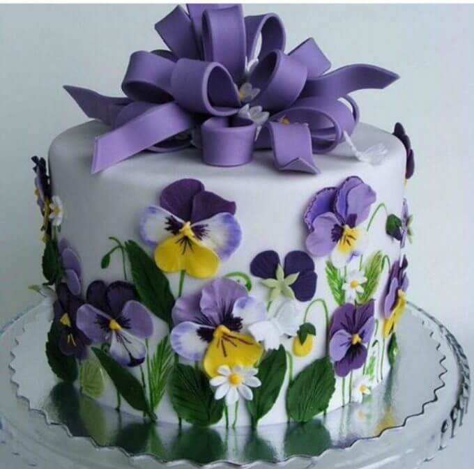 Spring Purple Flower Cake From Faz Bakery