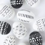 African Mud Cloth Black And White Easter Eggs