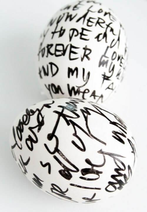 Easter Eggs In Black White Painting