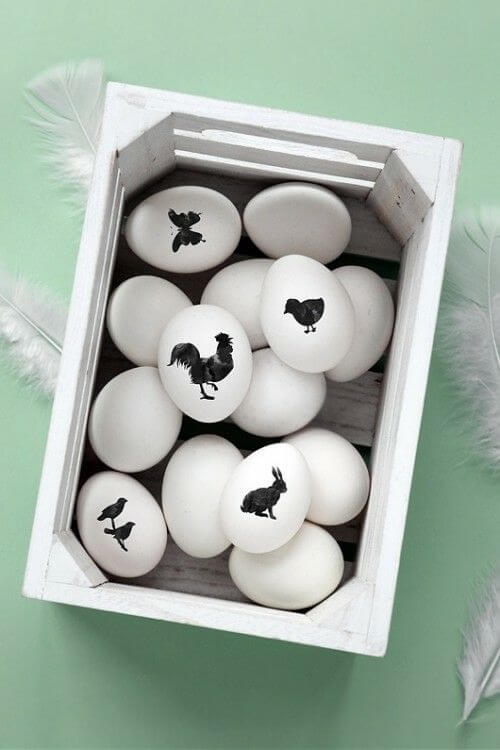 Black And White Animal Drawing Easter Eggs