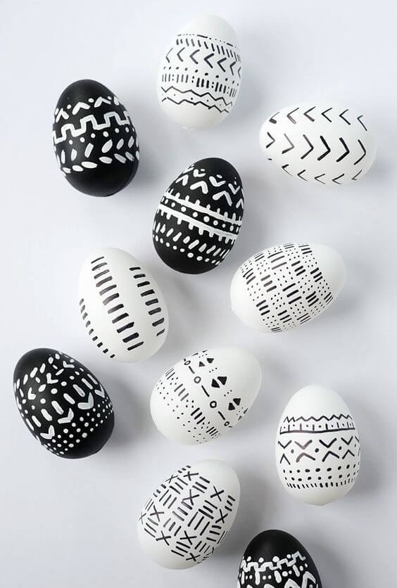 Black And White Painted Easter Eggs Idea
