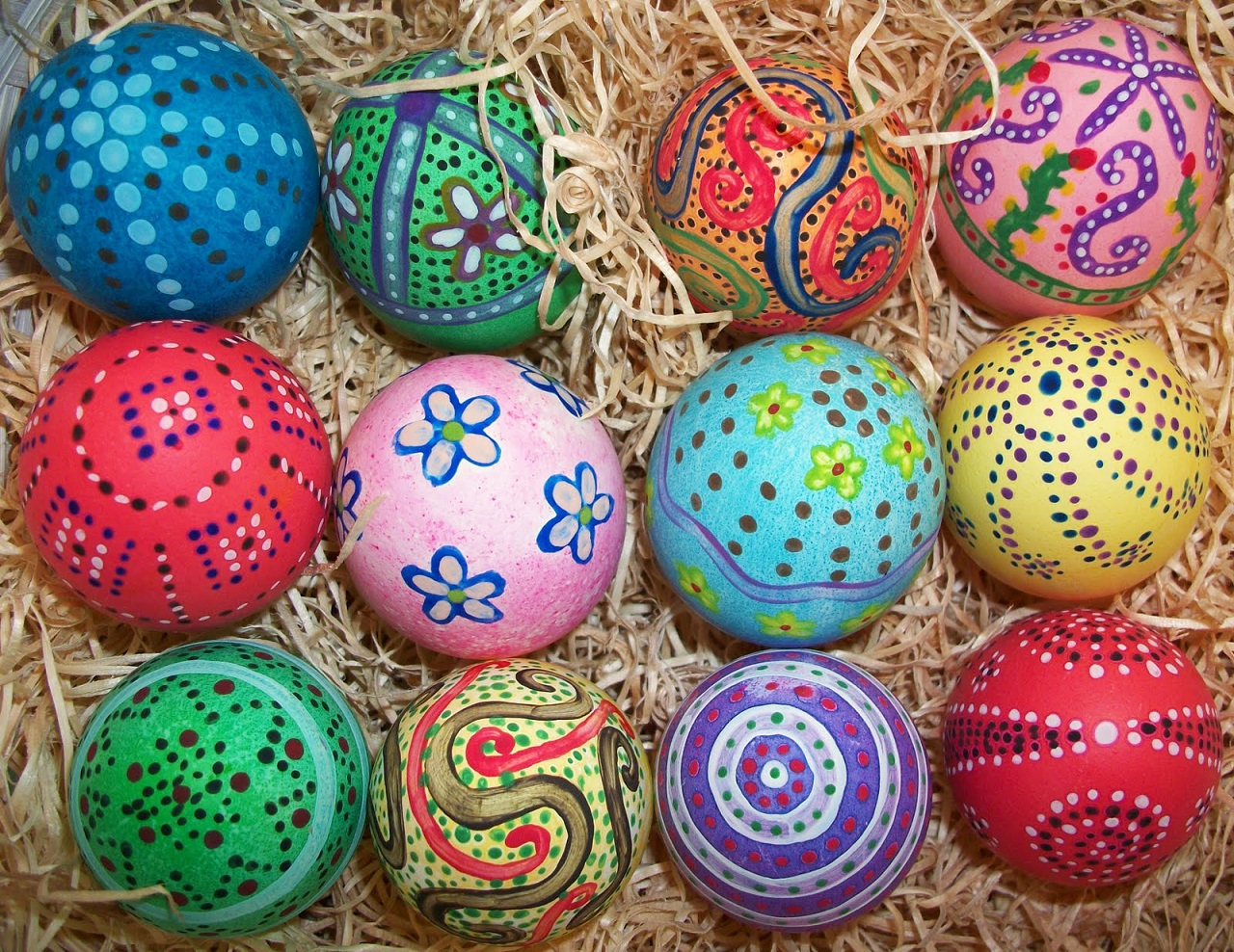 Hand Painted Easter Egg Dots
