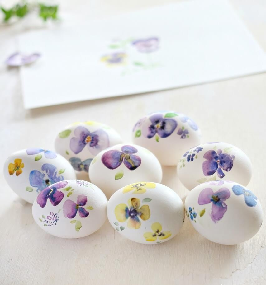 Hand Painted Watercolor Eggs 2