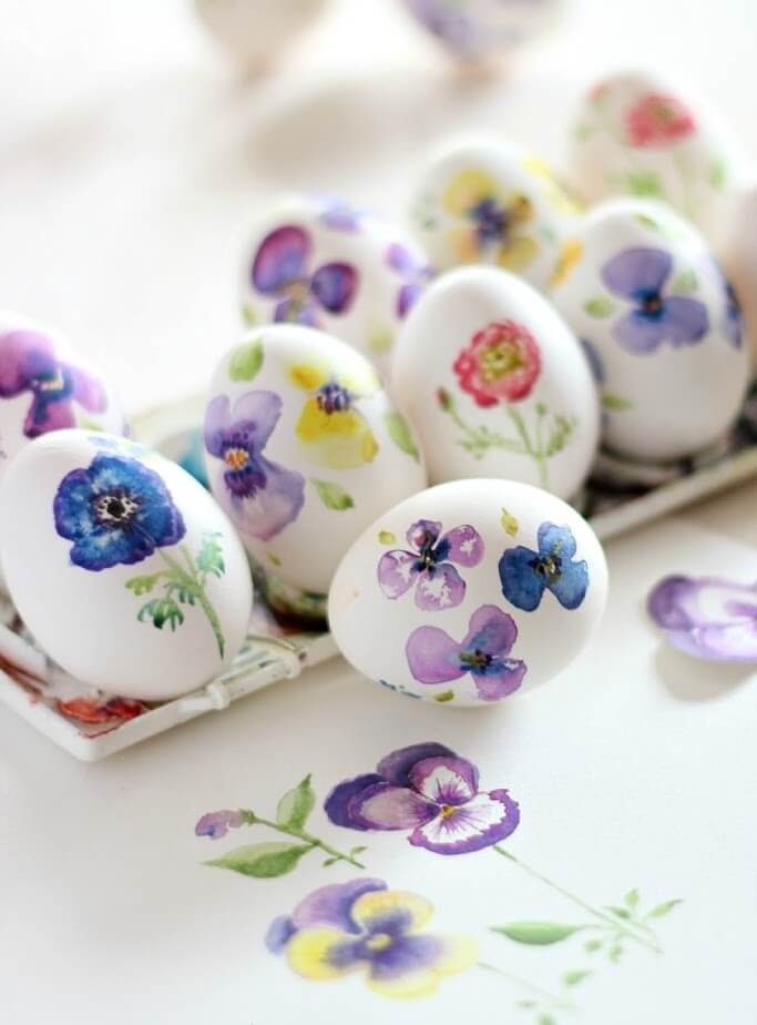 Hand Painted Watercolor Eggs 3