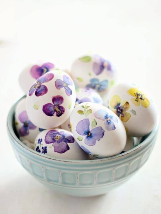 Hand Painted Watercolor Eggs