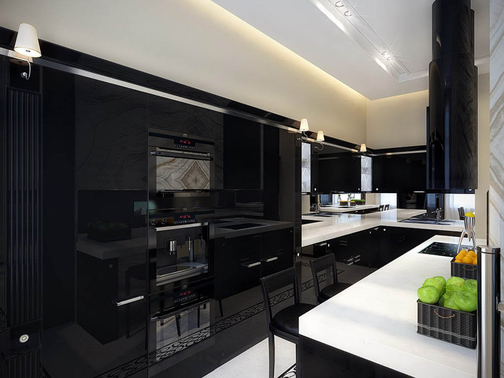 Amazing Contemporary Kitchen Design With Elegant Black Cabinets And Bar And Looks Matching Combined With White Countertops And Black Bar Stools