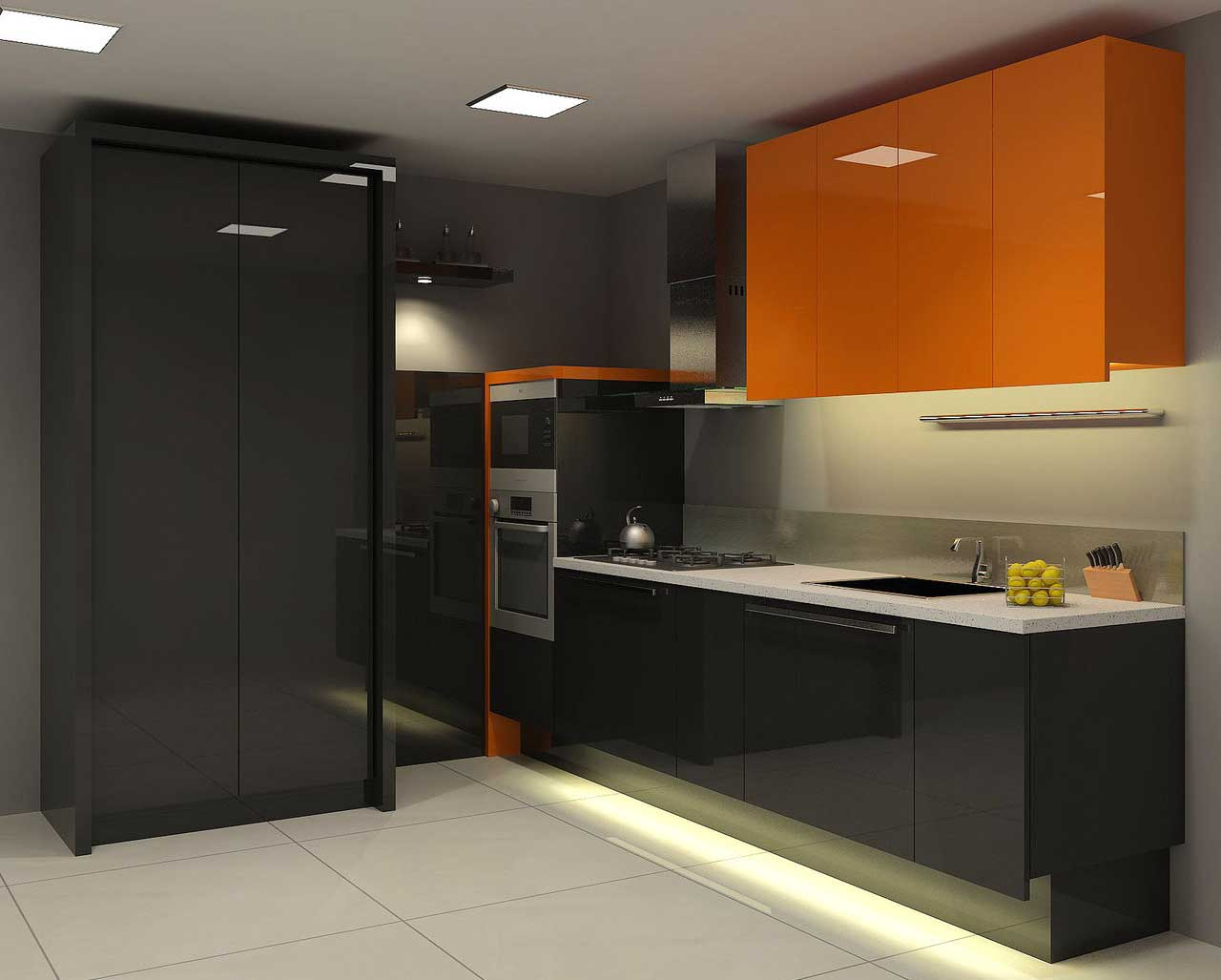 Natural Black Kitchen Design With Orange Cabinet Accent