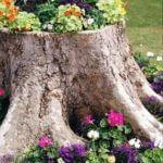 Colorful Tree Stump Planter