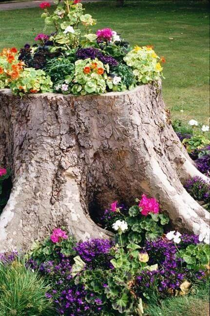 Colorful Tree Stump Planter