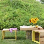 DIY Pallet Wood Bench And Gabion Table