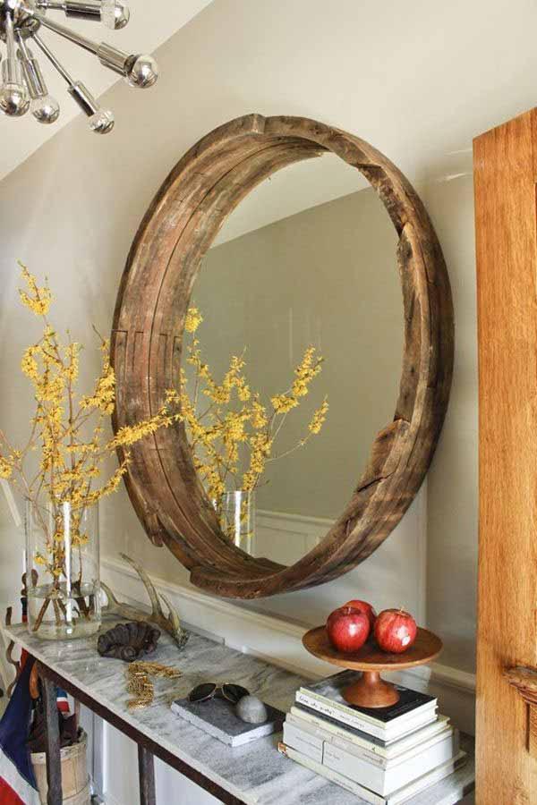 DIY Wine Barrel Mirror