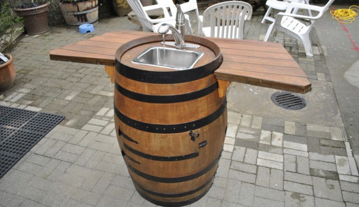 DIY Wine Barrel Sink