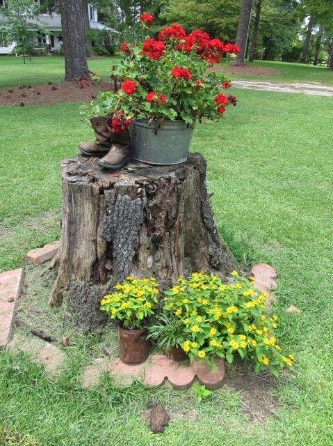 Decorated Tree Stump Planter