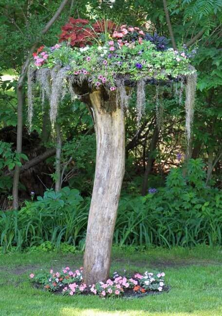 High Tree Stump Planter