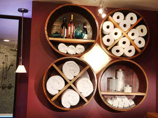Wine Barrel Bathroom Storage