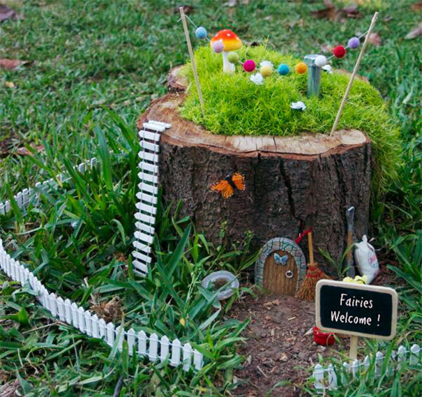 Tree Stump Flower Garden