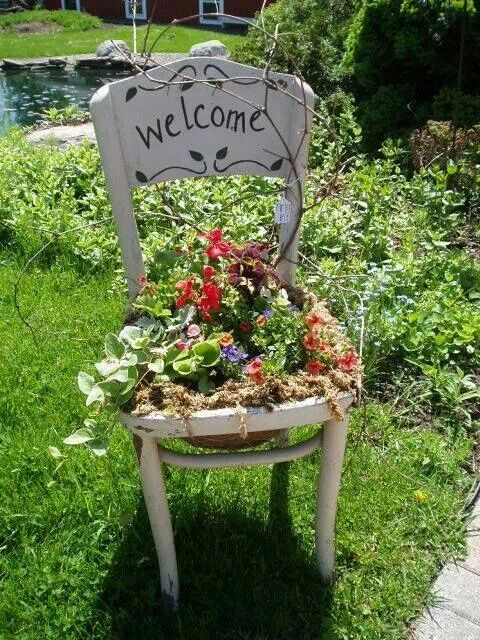 Garden Chair Planter Idea