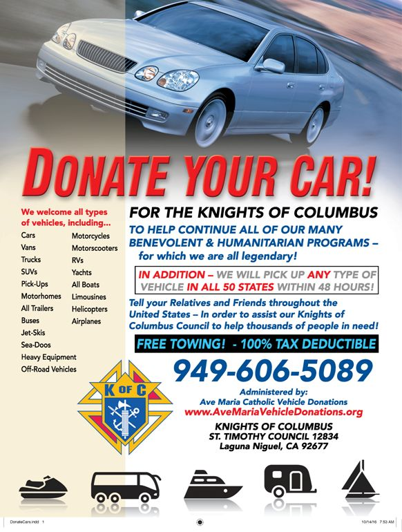 Donate Vehicles – Knights Of Columbus Orange Co CA