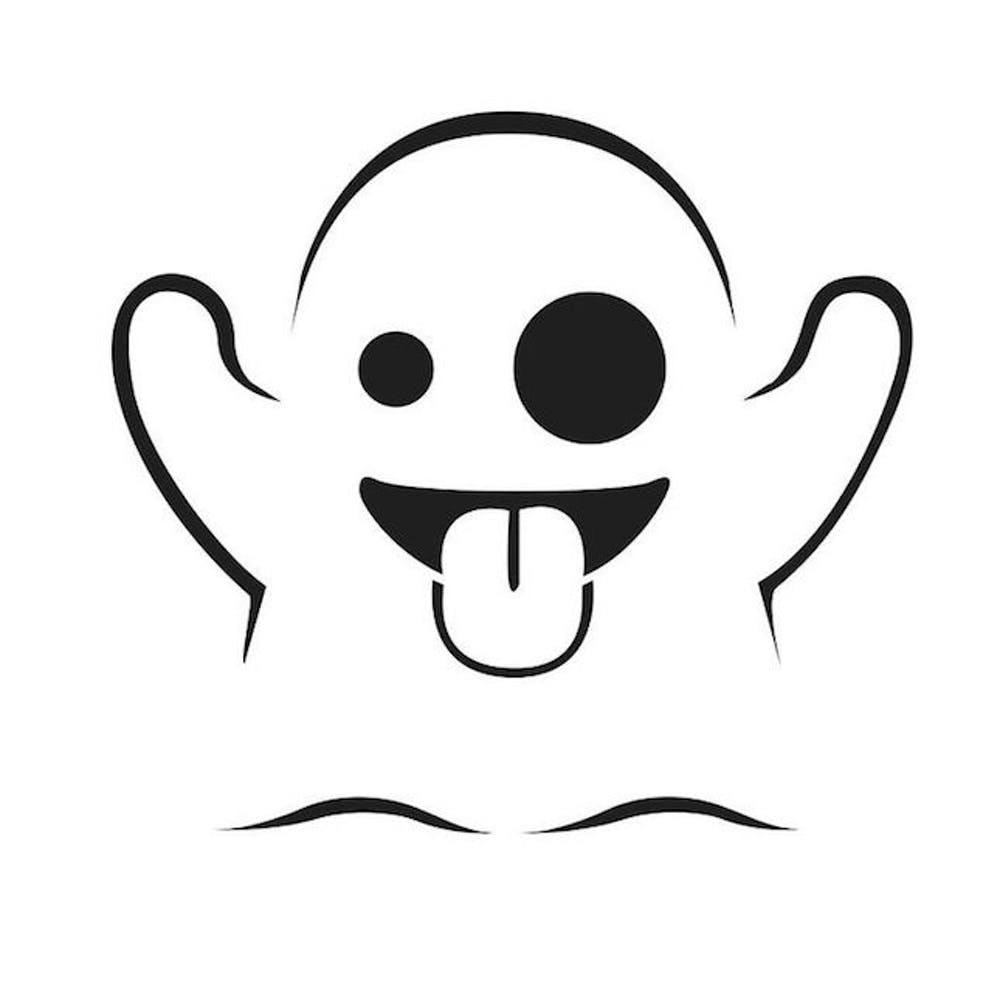 Cute Emoji Ghost Pumpkin Carving Template