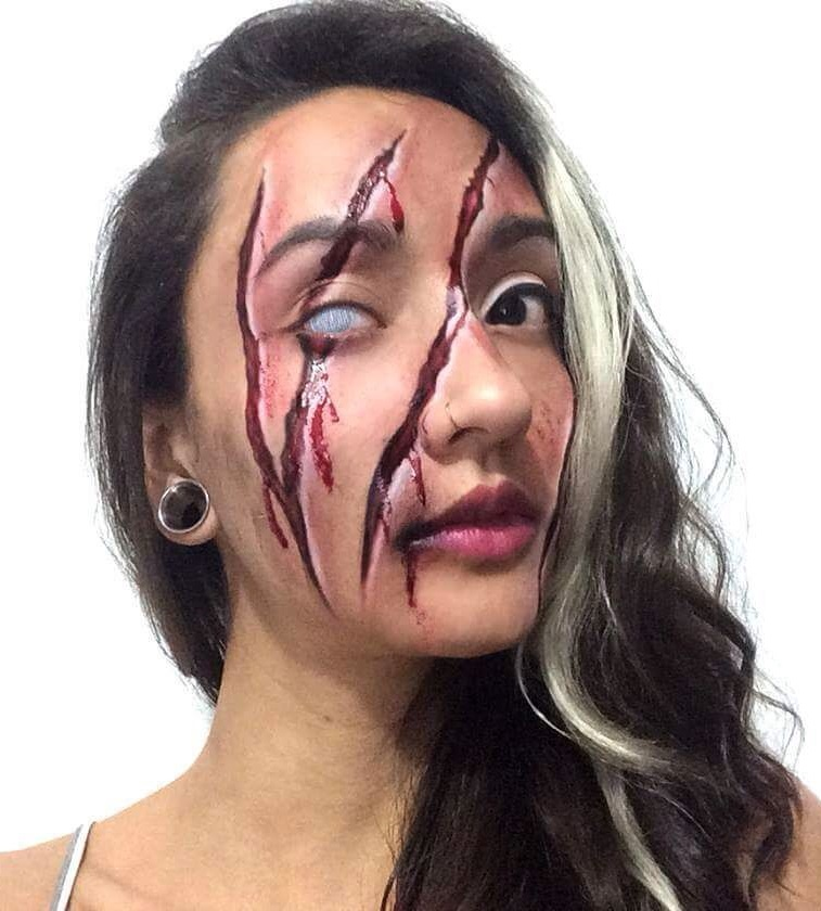 Gashes And Blank Eye Halloween Makeup