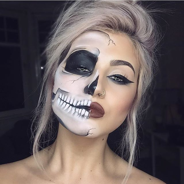 Half Skull Half Face Halloween Makeup