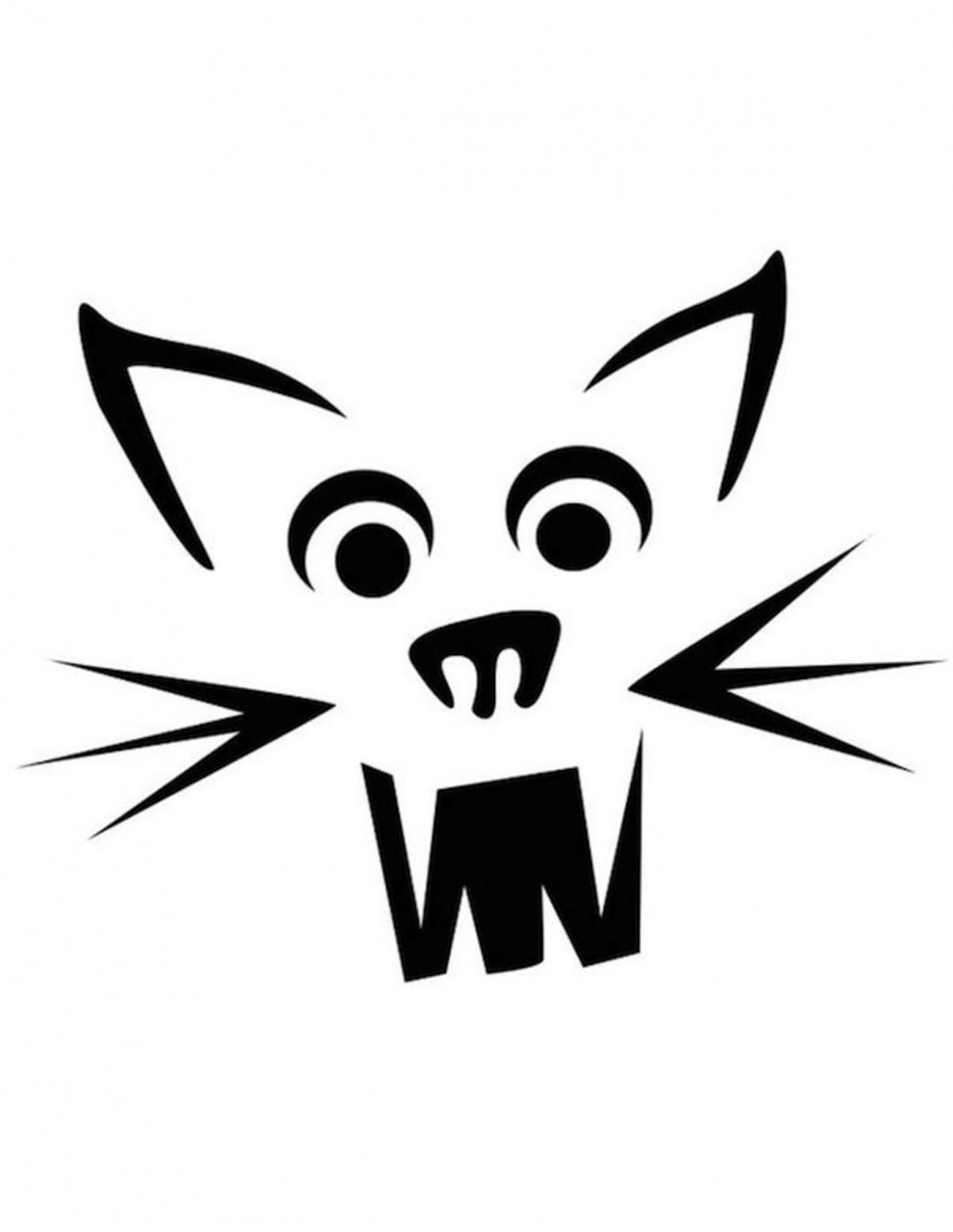 Get Cat Face Pumpkin Carving Pattern Stencil Template Designs